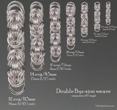 Double Byz-sion weave comparison chart based on 47 rings in different ring sizes.