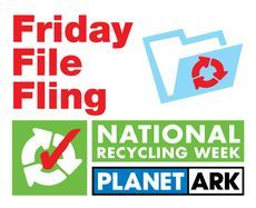 Friday File Fling stack for National Recycling Week/Planet Ark (© Amy Nancarrow)