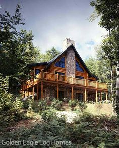 Photos and floor plans of this custom home are at www.GoldenEagleLogHomes.com…