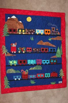 train advent calendar quilt