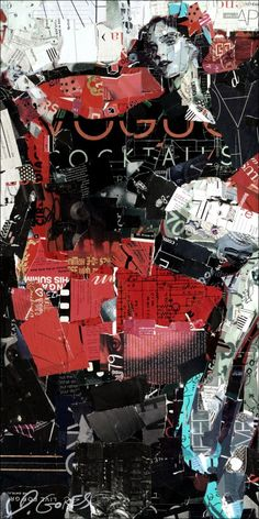"""Collage Artwork by Derek Gores 'Ms. Pilates, Reformed' 15"""" x 30"""" collage on canvas contact derek@derekgores.com"""