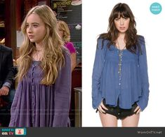 Maya's blue button front blouse on Girl Meets World.  Outfit Details: http://wornontv.net/53697/ #GirlMeetsWorld