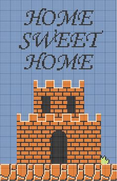 Super Mario Home Sweet Home Cross Stitch Sampler - free pattern online!