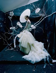 """Vogue UK June 2016, Editorial """"The Creative Revue"""" - a shoot for """"Vogue100"""". Stella Tennant wears Christian Dior Haute Couture by John Galliano, Spring 2007 collection. Photographer Tim Walker, Make-up Sam Bryant, Set Design Emma Roach"""