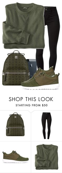 """""""Army Green"""" by madifly ❤ liked on Polyvore featuring MCM, J Brand and NIKE"""