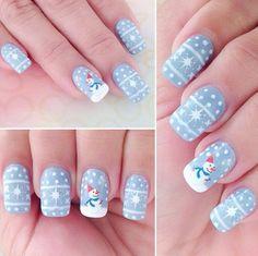 Do you want to build a snowman? Cute snowman nail art for Christmas. www.beautyspace.com.sg