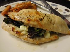 Spinach, mushroom, and feta stuffed chicken, with rosemary carrots
