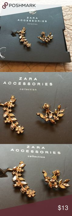 Zara Earrings NWOT Gold with diamond like jewels.  Pierced earring the one has a clip attached to go up the ear.  NWOT Zara Jewelry Earrings