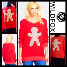 "WILDFOX Gingerbread Red Sweatshirt CinnamonScented WILDFOX Gingerbread Red Sweater Sweatshirt Cinnamon Scented   New With Tag    * Super soft & cozy yet lightweight fabric;Purposely subtly distressed.  * It measures about 26.5"" long.   * Crew neck & long sleeves.  * Graphic print w/a cinnamon scent  * A relaxed loose knit silhouette   Fabric:Rayon, Poly, & 6% Spandex Color: Hot Lipstick Red  Item: WF9490 No Trades ✅ Authentic/Genuine ✅ ✅ Bundle Discounts   ✅ ✅ Offers Considered*✅  *Please…"