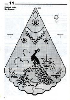 Филейное вязание Crochet Table Topper, Crochet Tablecloth Pattern, Crochet Curtains, Crochet Doily Patterns, Crochet Motif, Crochet Doilies, Peacock Crochet, Crochet Birds, Thread Crochet