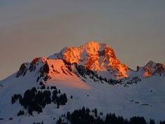 Alpenglühen, Red, Alpine, Mountains