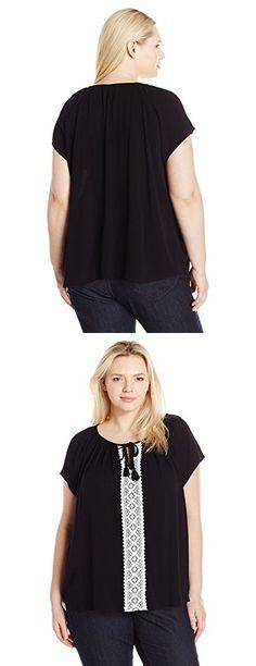 Karen Kane Women's Plus Size Lace Trim Raglan Sleeve Top, Black/White, 3X