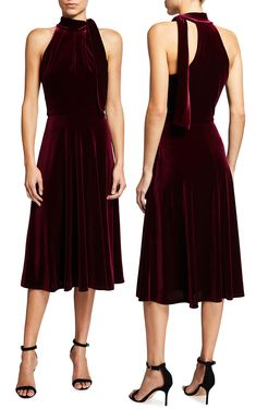 "Fabulous burgundy velvet dress for Christmas or New Years Eve 2020. Black Halo ""Audrey"" velvet dress with halter neckline and side-tie bow. Christmas Party Dresses 2020. The best dresses for a Cocktail Party Christmas 2020. Christmas Outfits. What to wear to the Christmas Party 2020. Velvet Dress for the Party Season 2020. Velvet Dress for the Christmas Party 2020. New Years Eve Velvet Dress 2020. Velvet Cocktail Dresses USA 2020. What to wear to the Christmas Party 2020. New Years Eve Dress"