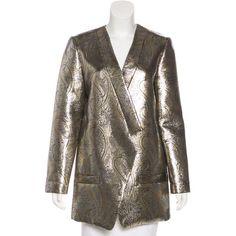 Pre-owned Jenni Kayne Brocade Longline Blazer ($95) ❤ liked on Polyvore featuring outerwear, jackets, blazers, gold, long length blazer, pocket jacket, longline blazer, paisley print blazer and long line blazer