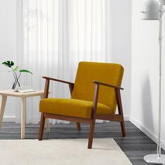 Ikea armchair, should match LANDSKRONA sofa Ikea Armchair, Velvet Armchair, Fabric Armchairs, Chair Fabric, Ikea Yellow, Mid Century Armchair, Loft, Lofts