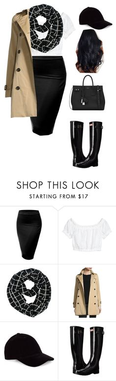 """Untitled #91"" by mayventu1999 on Polyvore featuring J.TOMSON, Burberry, Le Amonie, Hunter and Yves Saint Laurent"