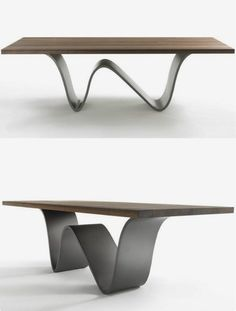 Table design Steel table legs Dining table – Tables and desk ideas Table Design Bois, Dining Table Design, Modern Dining Table, Coffee Table Design, Modern Table Legs, Steel Furniture, Table Furniture, Cool Furniture, Furniture Design
