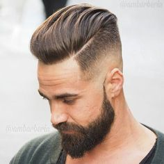 Combed Back Layers with Medium Bald Fade Haircut