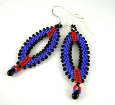 Wild Wicked Beads, Oval Earrings from Diane Fitzgerald's Shaped Beadwork