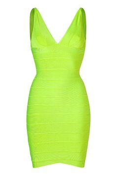 Neon Green Bandage Dress - Hervé Léger
