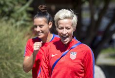 Megan Rapinoe smiles at training at Seattle University before the WNT's first match of the Tournament of Nations