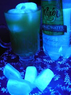 Glow in the dark Jello & Ice @Barbie Shona This was what I was talking about tonic water