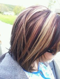 Red And Blonde Highlights For Dark Brown Hair #1