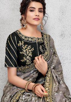 grey silk digital printed embroidered saree 11417 Work Fashion, New Fashion, Fashion Ideas, Saree Wearing, Saree Blouse Neck Designs, Blouse Styles, Salwar Kameez, Indian Beauty, Silk Sarees