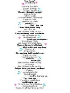 Far Away Nickelback Lyrics- My Wedding Song! :) <3