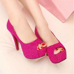 Shoes - My Passion Pink High Heels, Blue Pumps, Platform High Heels, High Heels Stilettos, Peep Toe Heels, Cute Shoes, Me Too Shoes, Wedge Shoes, Women's Shoes