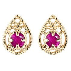 Majesty Diamonds - 1/3 CTW Round Ruby Teardrop Stud Earrings in 14K Yellow Gold #ruby #studearrings