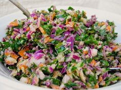 """Raw Green Coleslaw -- this was good, clean eating. Now, I will always consider using my Ninja to """"chop"""" kale and cabbage!"""