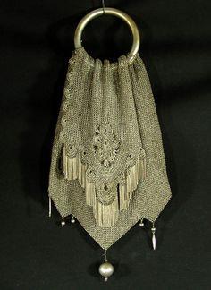 VICTORIAN GERMAN SILVER MESH LADY MISER PURSE HAND BAG -$1050.00
