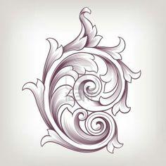 Illustration of Vintage baroque scroll design element flower motif pattern vector art, clipart and stock vectors. Baroque Frame, Motif Baroque, Baroque Pattern, Baroque Design, Filigranes Design, Leaf Design, Design Elements, Pattern Design, Design Basics