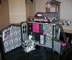 re-do Barbie House to Monster Doll High house