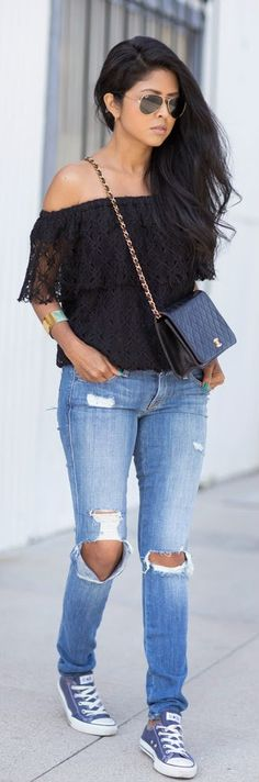 5a40abb87b0fe Gorgeous denim stylish jeans with black lace off shoulder blouse and black  leather clutch and soft