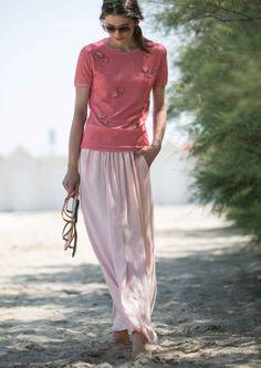 Soft rose long skirt  #Purotatto image by me #michelazucchini