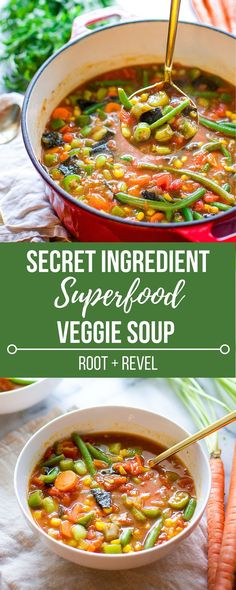 In less than 30 minutes, this superfood veggie soup will bring comfort to your table. 2 secret ingredients add MAJOR flavor. Healthy, vegan and gluten-free.