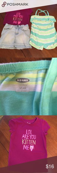 """Lot of 4T girl clothes Denim DKNY skirt with soft built in shorts. Super cute cross crops back romper in bright yellow and Aqua and a  plum colored tee saying """" lol are you kitten me"""" all in good condition. Plum tee has a small dark stain to the left of the writing. Hardly noticeable. Questions welcomed!! Bundle and save! Mix and match any kid items. Other"""