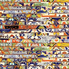 """Another view: Mexican Talavera tile sliced into skinny """"brick"""" mosaic."""