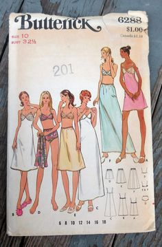 Vintage Butterick sewing pattern 6288 Full Slip BRA Petticoat Briefs size 14 Lingerie Patterns, Sewing Lingerie, Vintage Lingerie, Underwear Slips, Lingerie Underwear, Vintage Patterns, Sewing Patterns, Cute Pattern, Night Gown