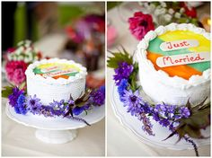 """a """"just married"""" wedding cake"""