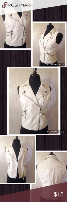 Faux Leather Vest Prettt Little Liars for Aeropostale faux leather vest with side zipper and zipper pockets. Great condition. The only flaw is a super light pen mark that is honestly-hardly noticeable (see the very last picture). You really can't see it unless you're looking for it and even then it's hard. It is lined. Machine wash cold. The color is a white/cream Aeropostale Tops