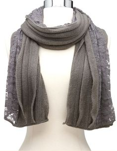 Lace Panel Ruffled Knit Scarf: Charlotte Russe