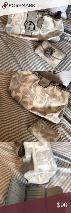 """Authentic Coach Optic Linen and matching wallet Authentic linen shoulder bag and matching wallet. Bag does have light staining around the inside zipper, as shown in photos. I am the original owner and purchased directly from Coach. Size:  14""""L x 4""""W x 12""""H. Coach Bags Shoulder Bags"""