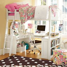 Think vertically when laying out your dorm room to make the most of floor space. Crinkle Puff Quilt & Sham | PBteen
