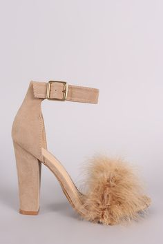 """Description This alluring  faux fur  embellishment, single band across vamp, and adjustable ankle strap with buckle fastening. Finished with a wrapped chunky heel and lightly padded insole.Material: Vegan Leather (man-made)Sole: Synthetic  Measurement Heel Height: 4.25"""" (approx) 