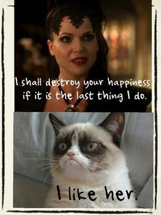 Grumpy Cat likes the Evil Queen! Once Upon a Time and like OMG! get some yourself some pawtastic adorable cat apparel!