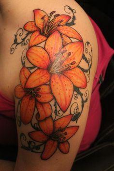 lily flowers tattoo 12 - 60 Beautiful Lily Tattoo Ideas   <3