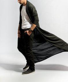 Mens kimono cardigan / Longline Cardigan / Long black cardigan / Samurai fashion / Minimalist fashion / Jersey kimono / Dark fashion